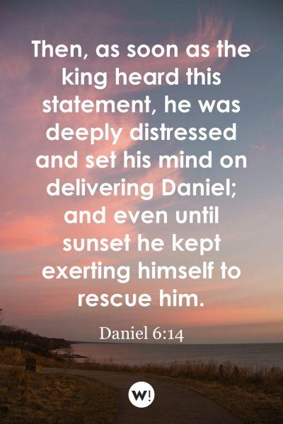 Then, as soon as the king heard this statement, he was deeply distressed and set his mind on delivering Daniel; and even until sunset he kept exerting himself to rescue him