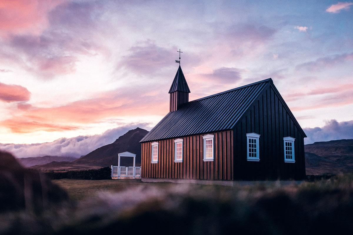 church at sunset captions for insta