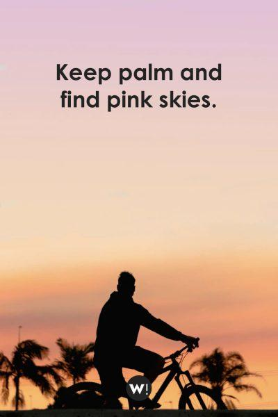 Keep palm and find pink skies