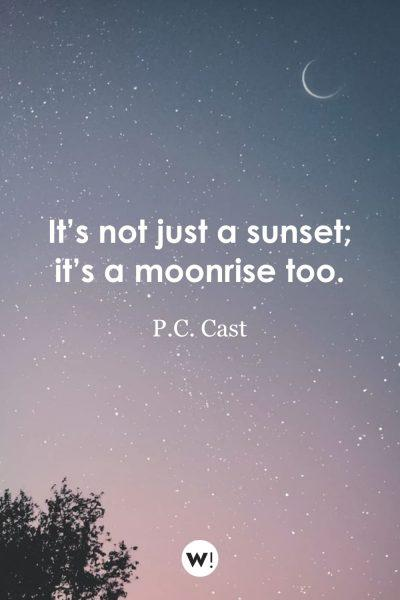 It's not just a sunset; it's a moonrise too