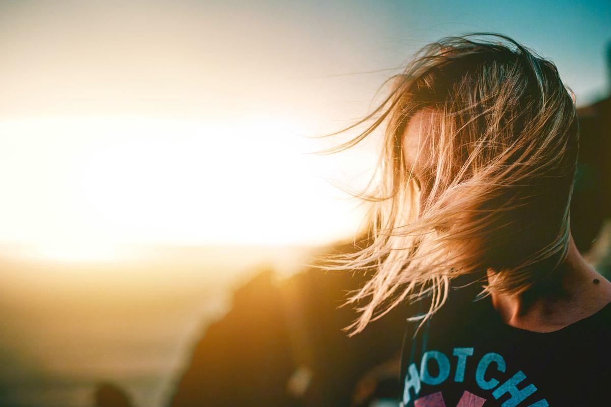sad girl in golden light