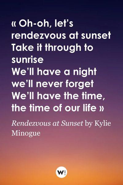 Rendezvous at Sunset by Kylie Minogue