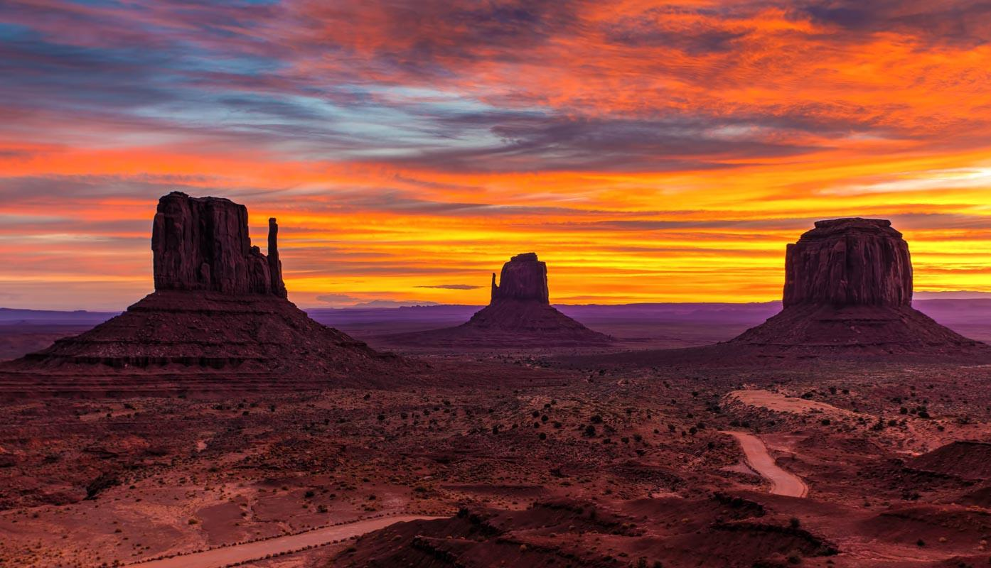 sunset over monument valley usa caption about sunset