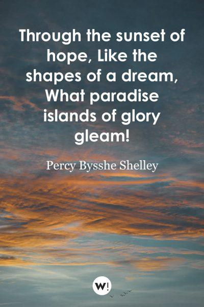 Through the sunset of hope, Like the shapes of a dream, What paradise islands of glory gleam