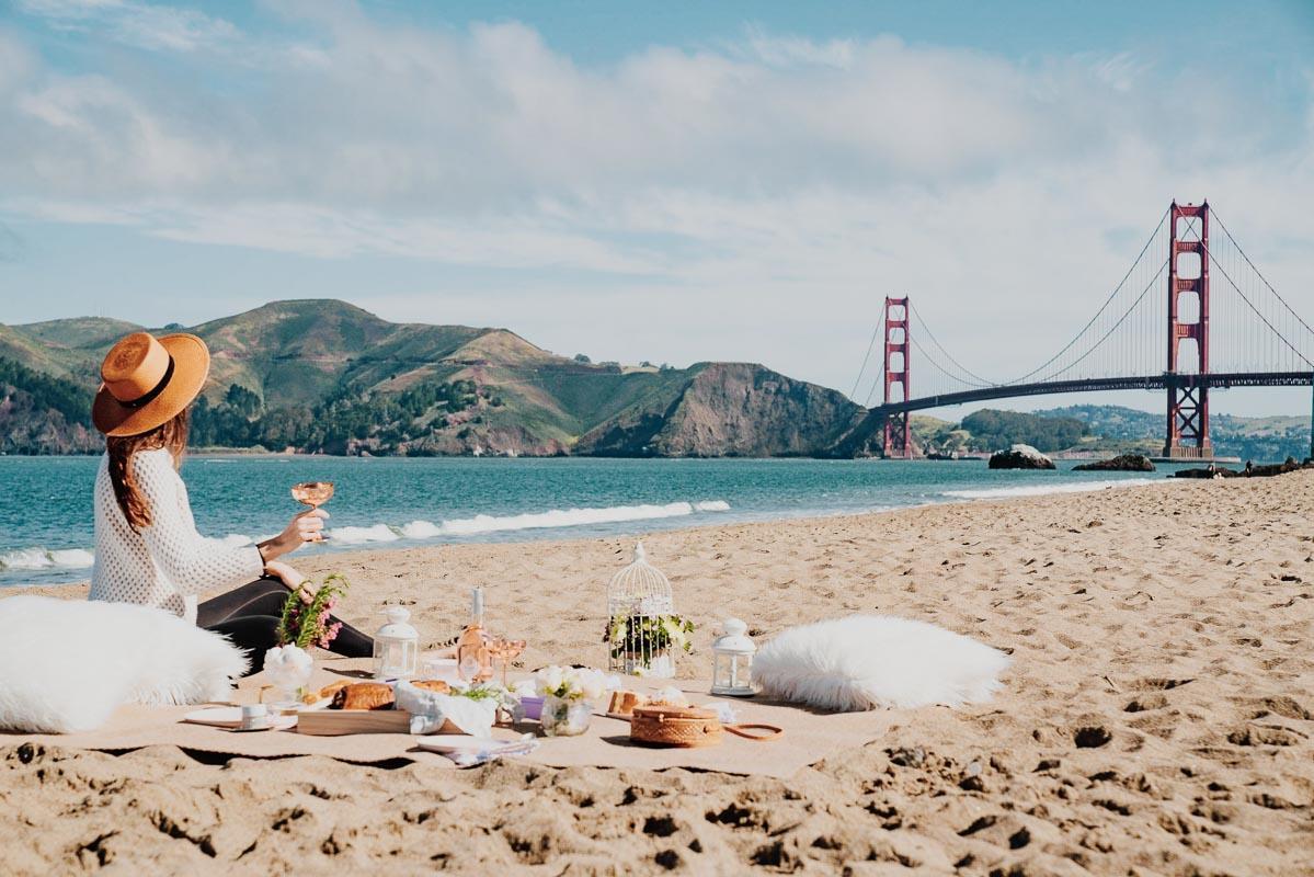 picnic on the beach golden gate bridge san francisco short beach sayings