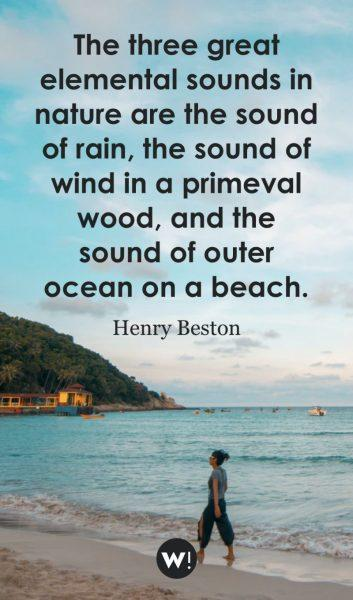 The three great elemental sounds in nature are the sound of rain, the sound of wind in a primeval wood, and the sound of outer ocean on a beach