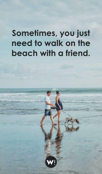 Sometimes, you just need to walk on the beach with a friend