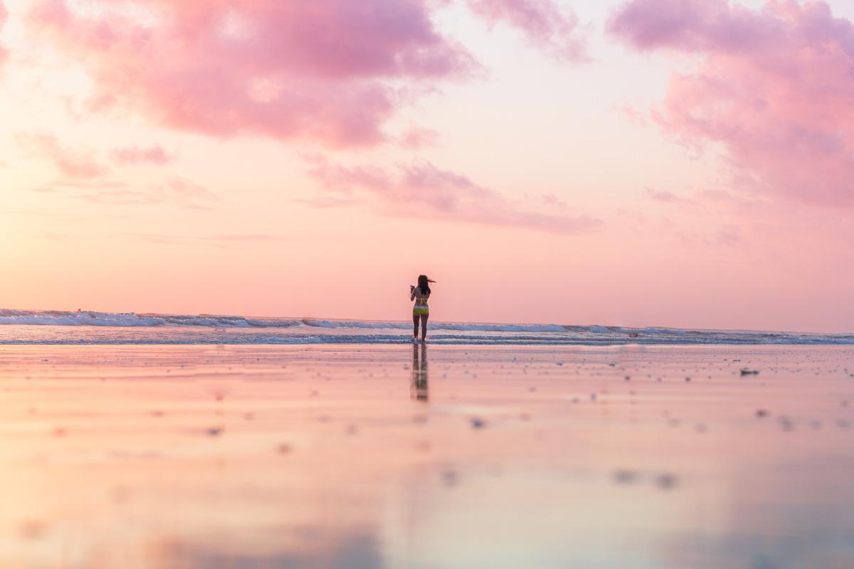 pink sunset on the beach instagram captions beach